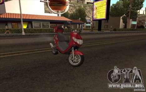 Suzuki Addres para GTA San Andreas vista posterior izquierda