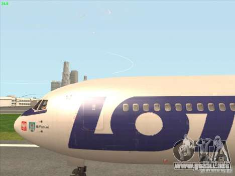 Boeing 767-300 LOT Polish Airlines para GTA San Andreas vista hacia atrás