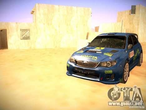 Subaru impreza Tarmac Rally para vista inferior GTA San Andreas