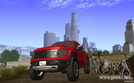 Ford F150 SVT RapTor para GTA San Andreas vista hacia atrás