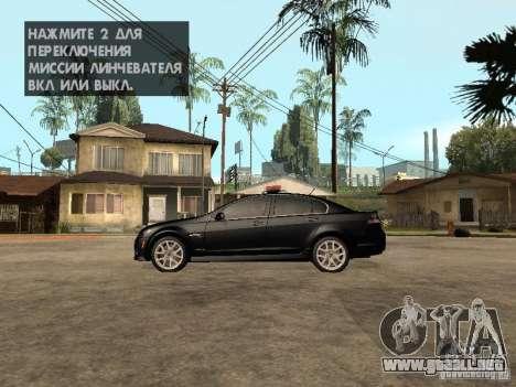 Pontiac G8 GXP Police v2 para GTA San Andreas left