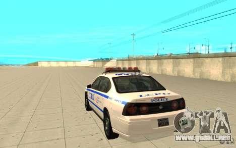 Patrulla de la policía de GTA 4 para GTA San Andreas vista posterior izquierda