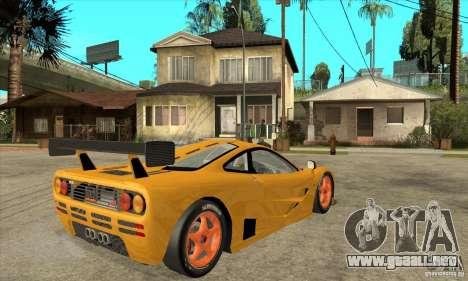 McLAREN F1 GTR GULF 1996 para la visión correcta GTA San Andreas