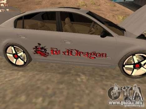 NISSAN ALTIMA para visión interna GTA San Andreas