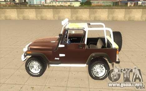 Jeep Wrangler 1986(2) para GTA San Andreas vista posterior izquierda