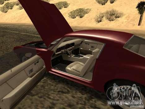 Pontiac Firebird 1970 para visión interna GTA San Andreas