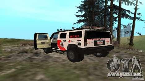 HUMMER H2 Amulance para GTA San Andreas vista posterior izquierda