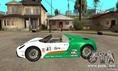 Porsche 918 Spyder para GTA San Andreas left