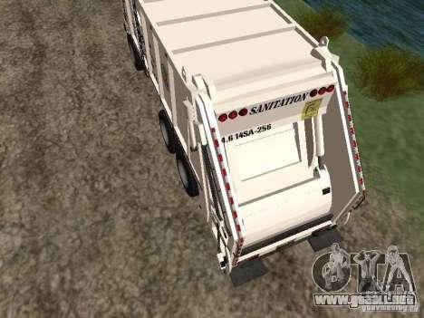 Camión de basura de GTA 4 para GTA San Andreas vista posterior izquierda