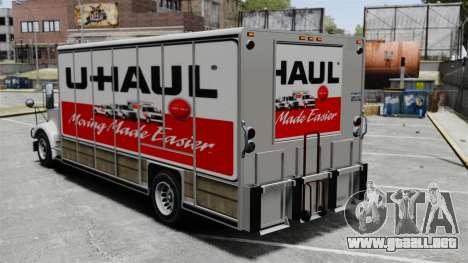 U-Haul camiones para GTA 4 adelante de pantalla