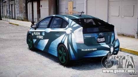 Toyota Prius 2011 PHEV Concept para GTA 4 Vista posterior izquierda