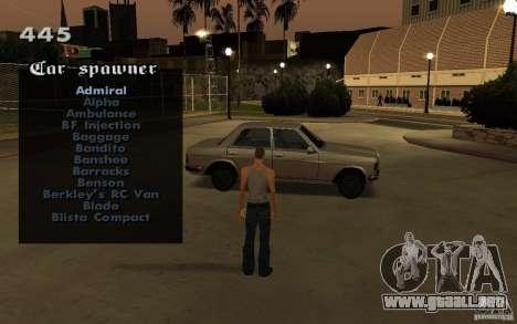 Vehicles Spawner para GTA San Andreas sucesivamente de pantalla