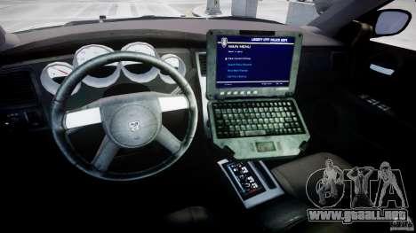 Dodge Charger FBI Police para GTA 4 vista hacia atrás