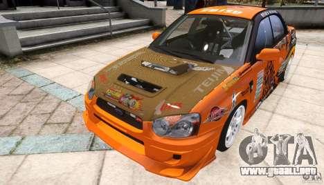 Subaru Impreza WRX STi GDB Team Orange para GTA 4 visión correcta
