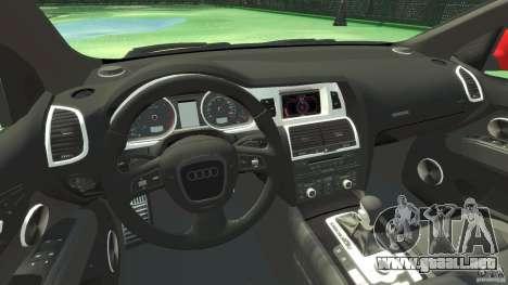 Audi Q7 v12 TDI para GTA 4 vista hacia atrás