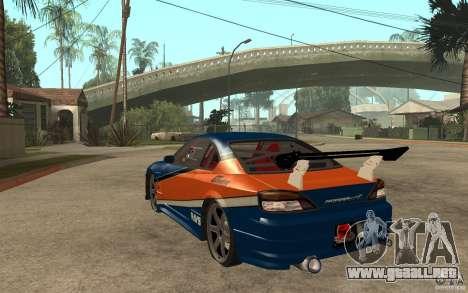 Nissan Silvia Drift para GTA San Andreas vista posterior izquierda
