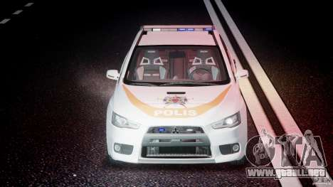 Mitsubishi Evolution X Police Car [ELS] para GTA 4 vista superior