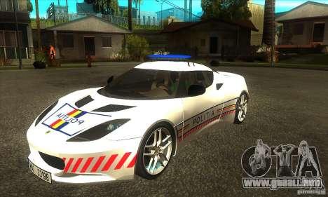 Lotus Evora S Romanian Police Car para GTA San Andreas