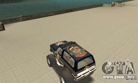 Chevrolet Blazer K5 Monster Skin 2 para GTA San Andreas vista posterior izquierda