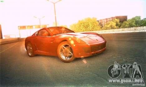 Ferrari 599 GTB Fiorano para GTA San Andreas vista posterior izquierda