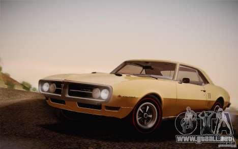 Pontiac Firebird 400 (2337) 1968 para GTA San Andreas vista hacia atrás