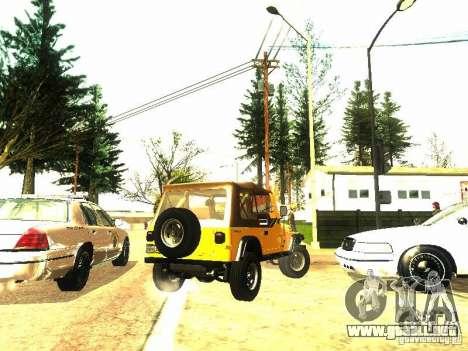 Jeep Wrangler Convertible para GTA San Andreas vista hacia atrás