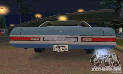 Mercury Monterey 1972 para vista lateral GTA San Andreas