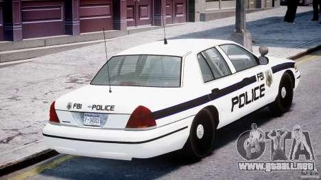 Ford Crown Victoria FBI Police 2003 para GTA 4 vista desde abajo