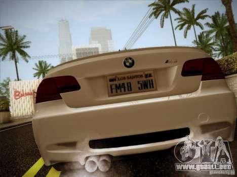 BMW E92 v2 Updated para GTA San Andreas vista posterior izquierda