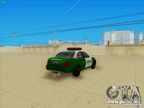 Nissan Sentra Carabineros De Chile para GTA San Andreas vista posterior izquierda