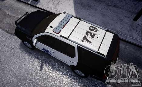 Cadillac Escalade Police V2.0 Final para GTA 4 vista hacia atrás