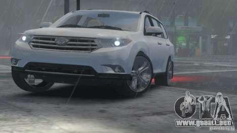 Toyota Highlander 2012 v2.0 para GTA 4 vista hacia atrás