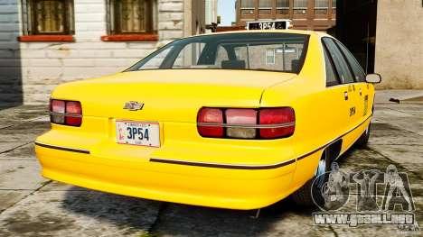 Chevrolet Caprice 1991 LCC Taxi para GTA 4 Vista posterior izquierda