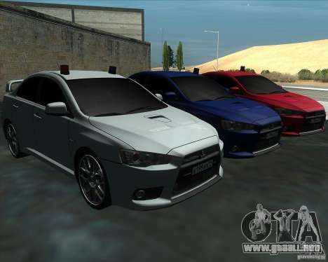 Mitsubishi Lancer Evolution X MR1 v2.0 para GTA San Andreas vista hacia atrás