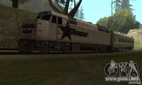 El coche de los ferrocarriles rusos 2 para la visión correcta GTA San Andreas