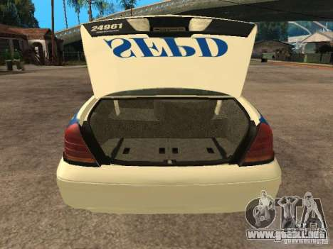 Ford Crown Victoria 2003 Police para GTA San Andreas vista hacia atrás