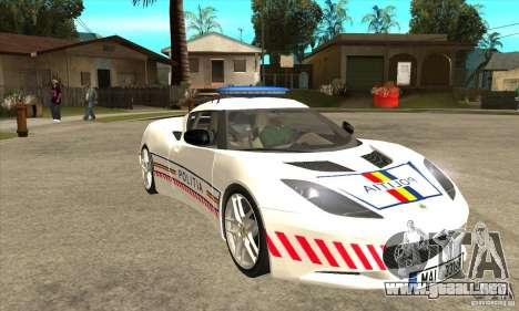 Lotus Evora S Romanian Police Car para GTA San Andreas vista hacia atrás