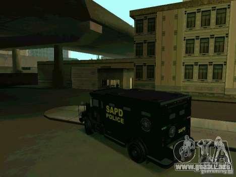 Stokade SAPD SWAT Van para GTA San Andreas vista posterior izquierda
