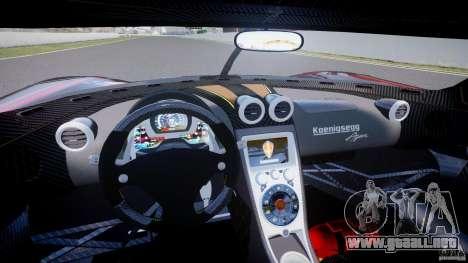 Koenigsegg Agera v1.0 [EPM] para GTA 4 vista hacia atrás