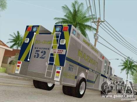 Pierce Fire Rescues. Bone County Hazmat para las ruedas de GTA San Andreas