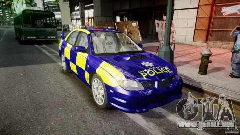 Subaru Impreza WRX Police [ELS] para GTA 4 vista hacia atrás