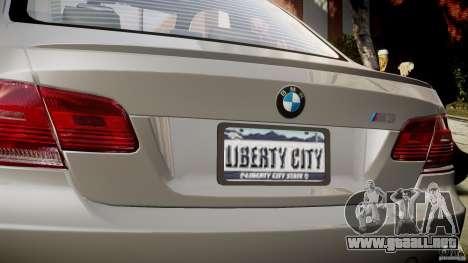 BMW M3 E92 para GTA 4 vista desde abajo