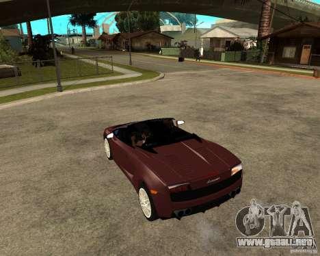 Lamborghini Gallardo LP560-4 Spyder para GTA San Andreas vista posterior izquierda