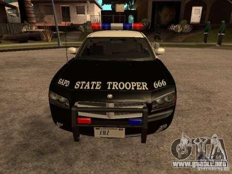 Dodge Charger RT Police para GTA San Andreas vista posterior izquierda