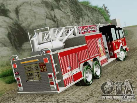 Pierce Rear Mount SFFD Ladder 49 para GTA San Andreas vista posterior izquierda