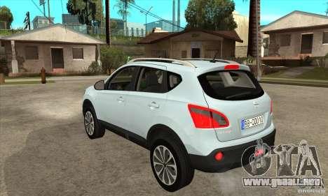 Nissan Qashqai 2011 para GTA San Andreas vista posterior izquierda