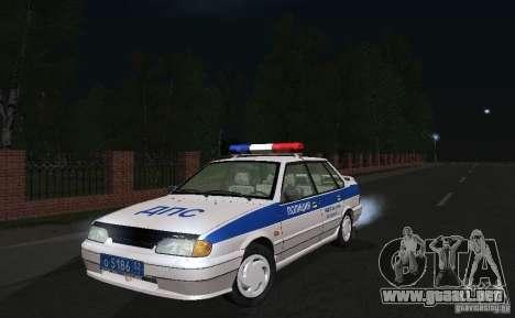 VAZ 2115 policía DPS para GTA San Andreas vista hacia atrás