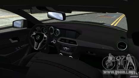 Mercedes Benz C63 AMG Black Series 2012 para GTA 4 vista superior