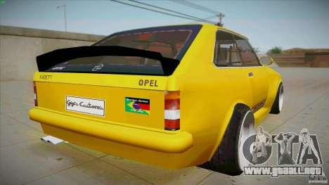 Opel Kadett D GTE Mattig Tuning para GTA San Andreas vista posterior izquierda