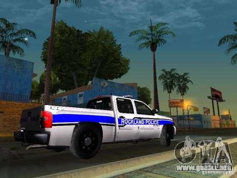 Chevrolet Silverado Rockland Police Department para GTA San Andreas vista posterior izquierda